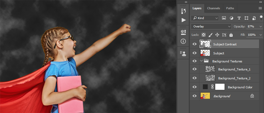 Changing blending mode and opacity of the Subject Contrast layer
