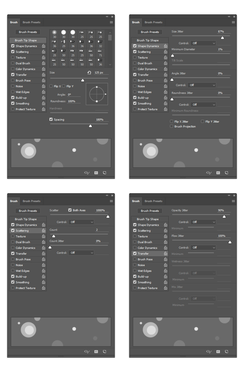 Changing brush settings