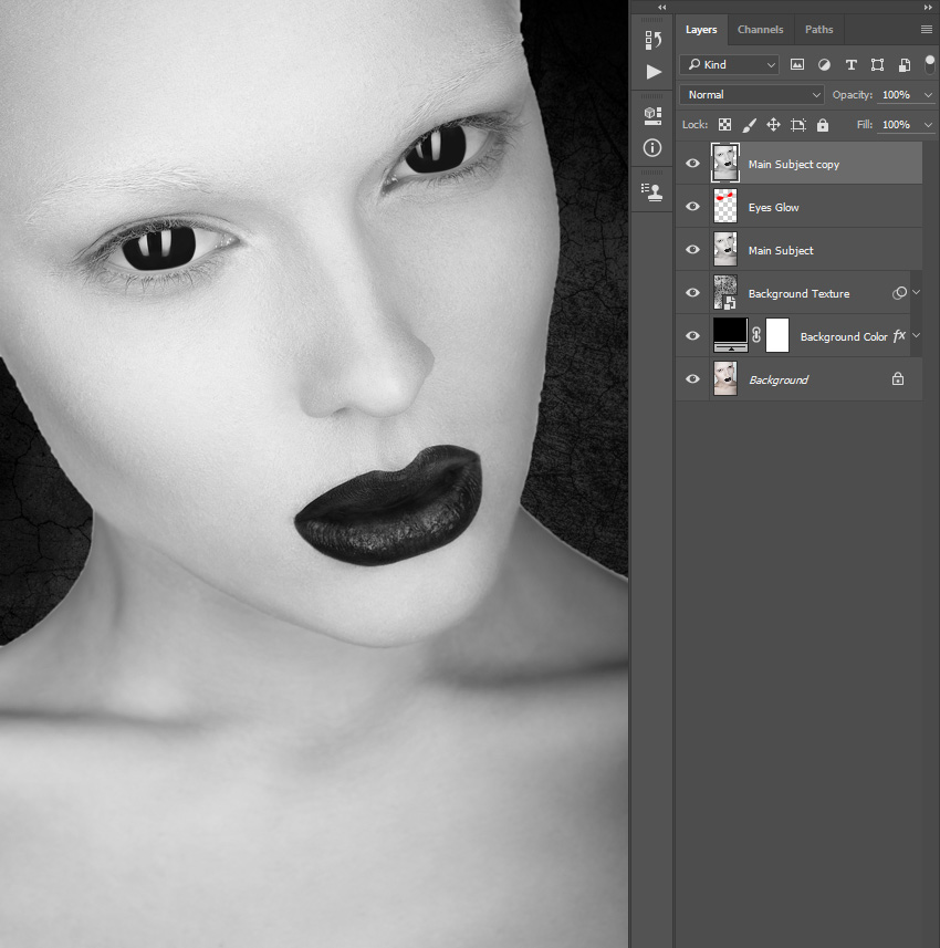 Duplicating and desaturating layer