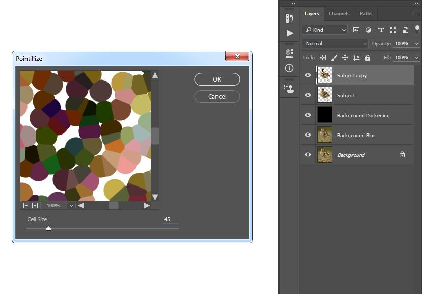 Adding pointillize filter