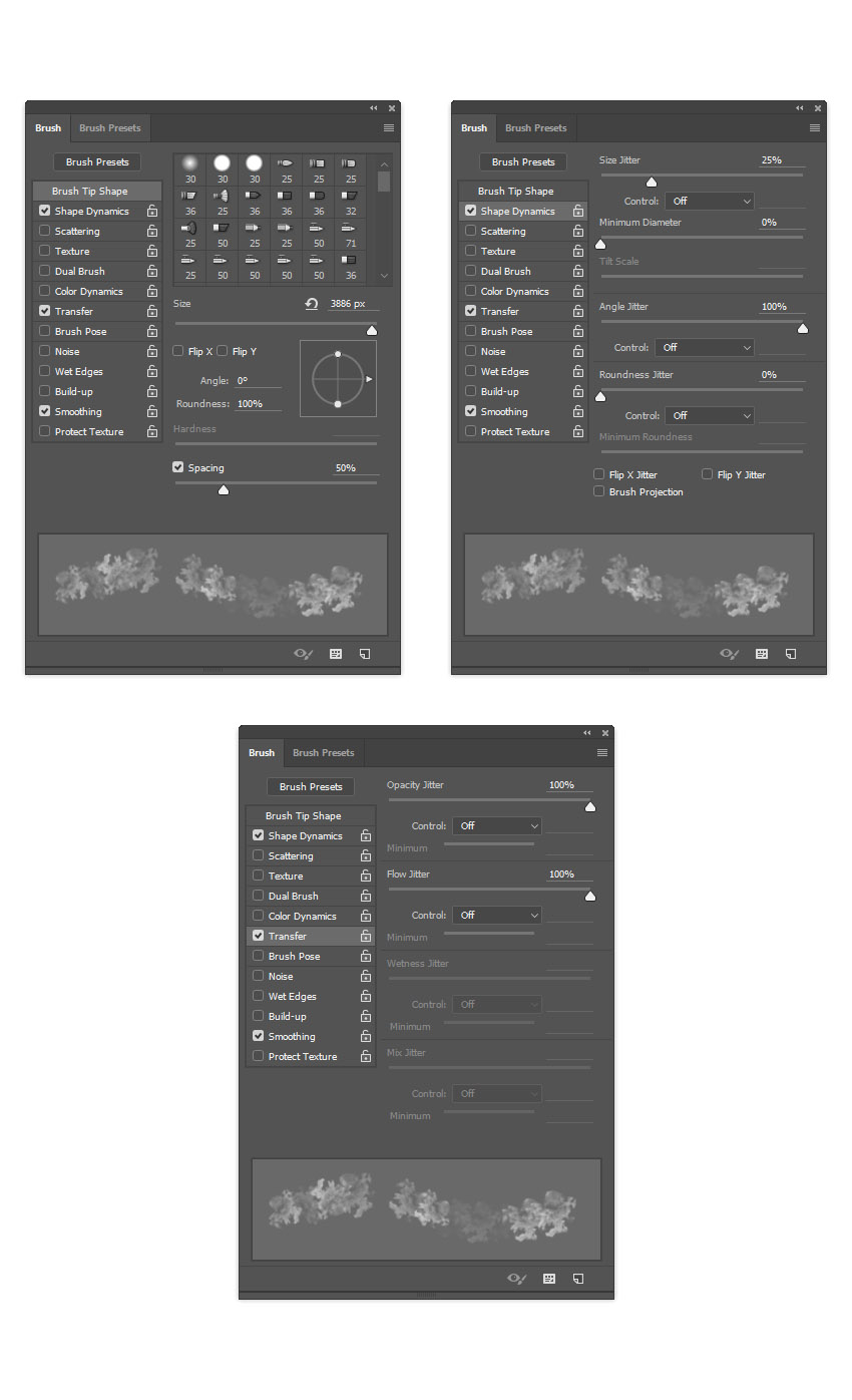 Adjusting brush settings