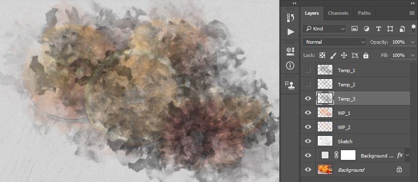 Brushing into layer