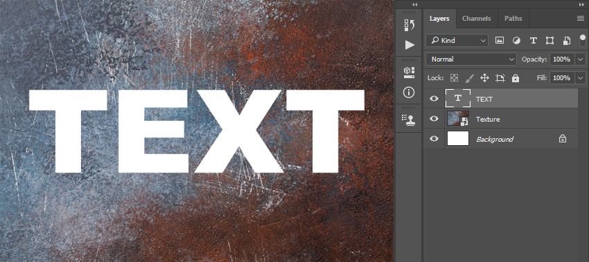 Adding text over texture