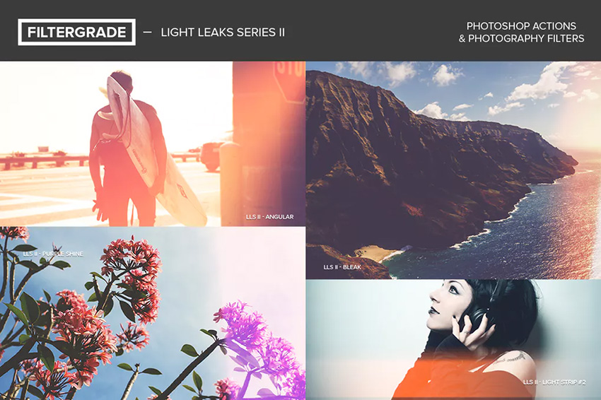 FilterGrade Light Leaks Photoshop Actions S2