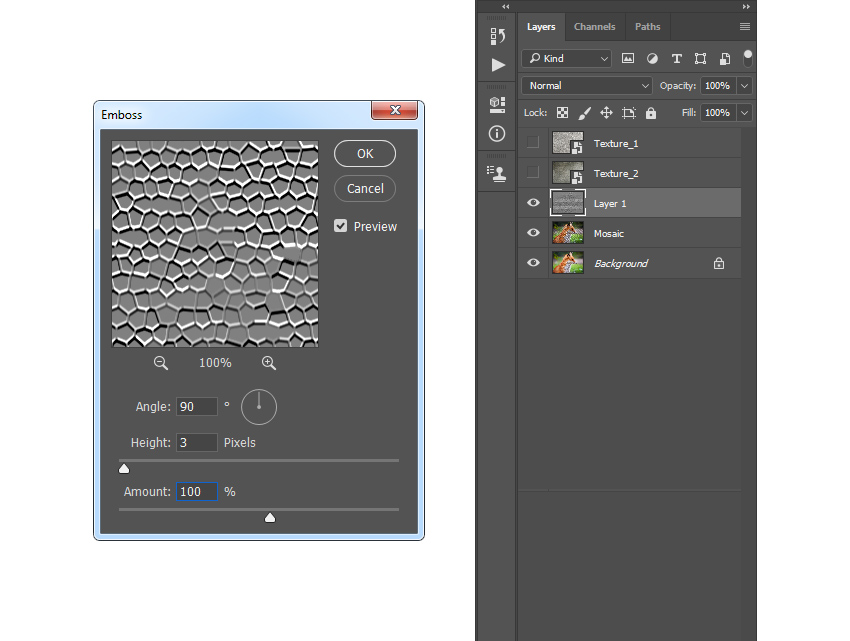 Adding emboss filter