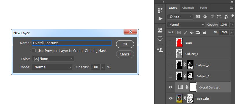 creating new adjustment layer