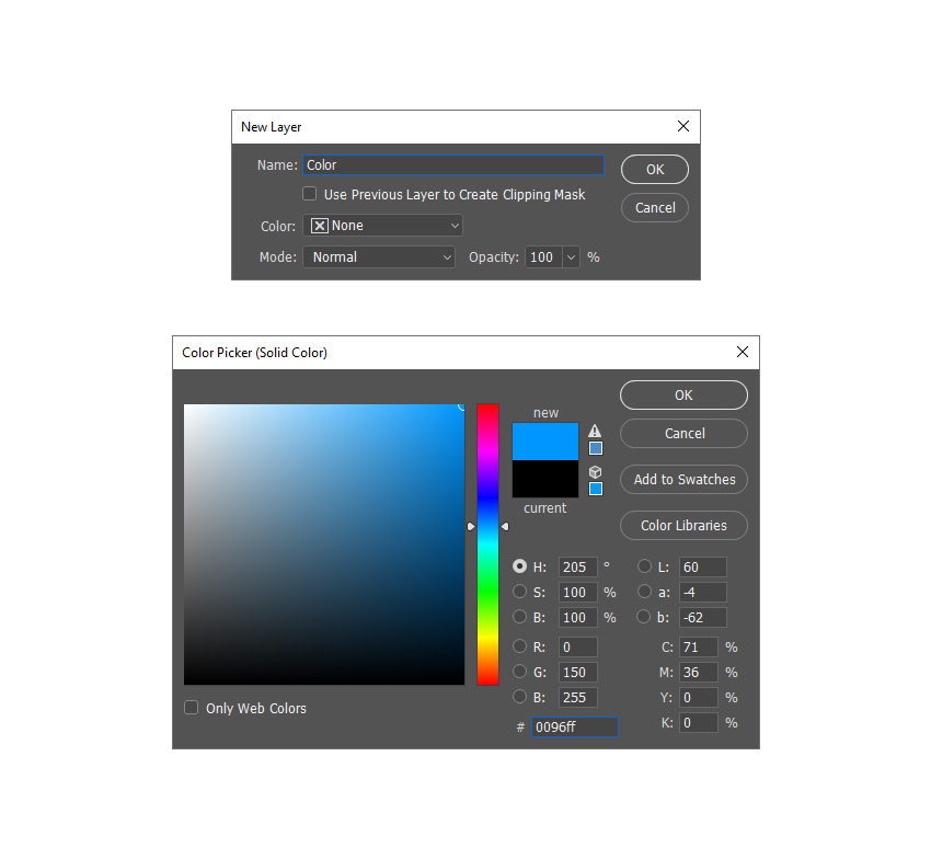 creating new solid color fill layer