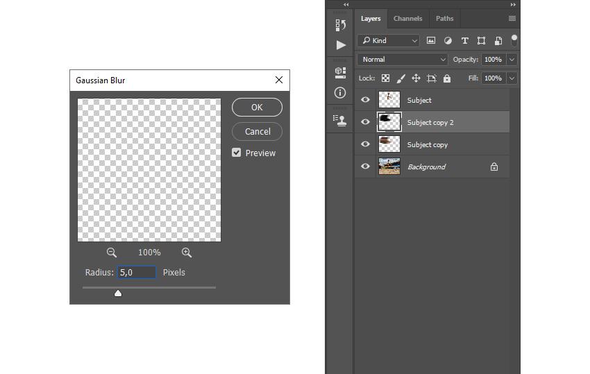 adding gaussian blur photoshop filter