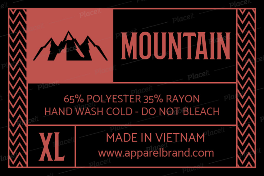 inside tag template for a mountain clothing brand
