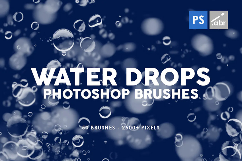 50 water drops photoshop brushes