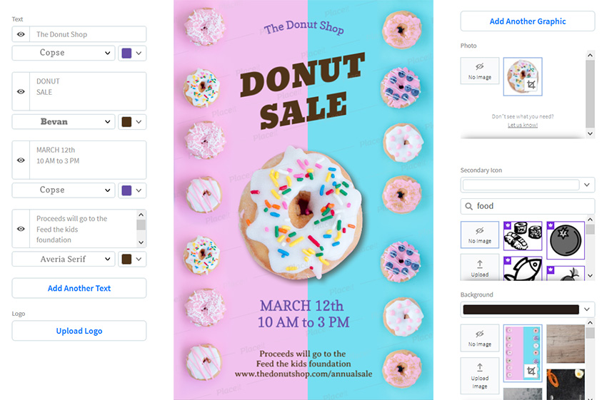 creating flyer with placeit