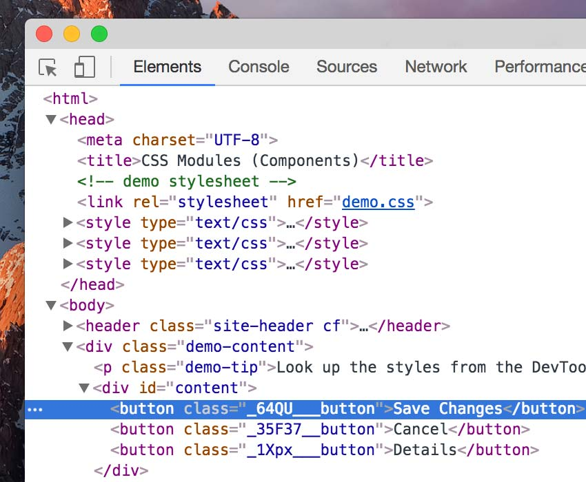 Elements Tab on Google Chrome DevTools