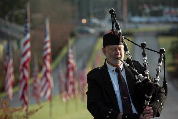 Image of man playing bagpipes good exposure