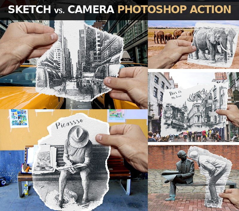 Pencil Sketch vs Camera Photoshop Action