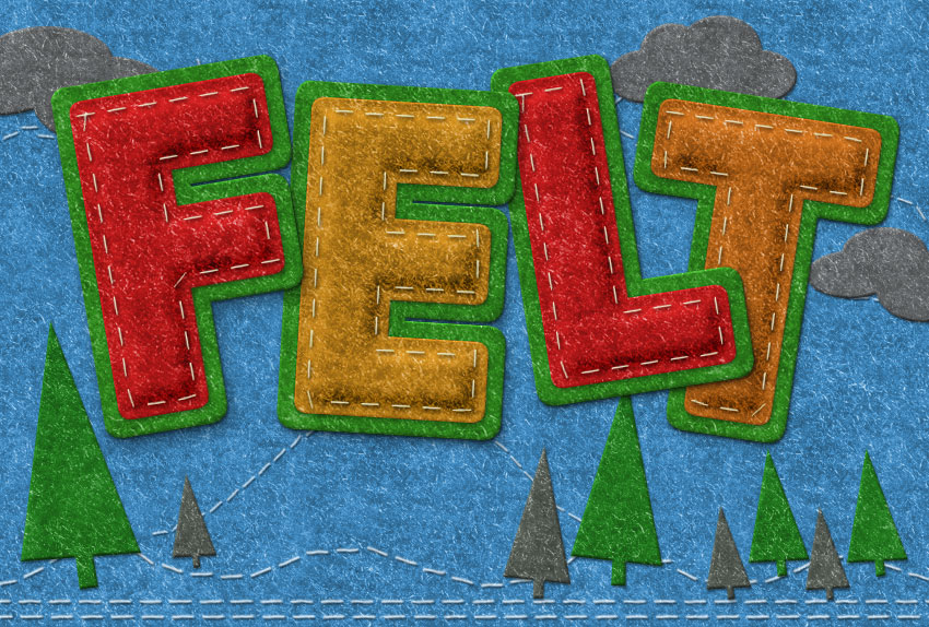 Photoshop Felt Text with Stitch Effects