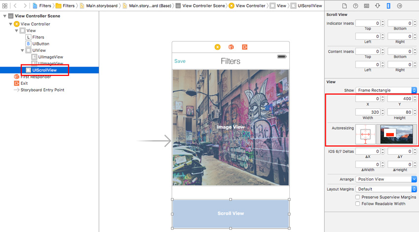 Set ScrollView size and margins