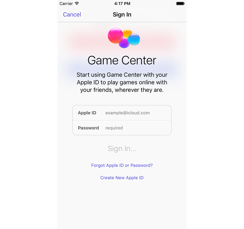 Game Center Sing In screen