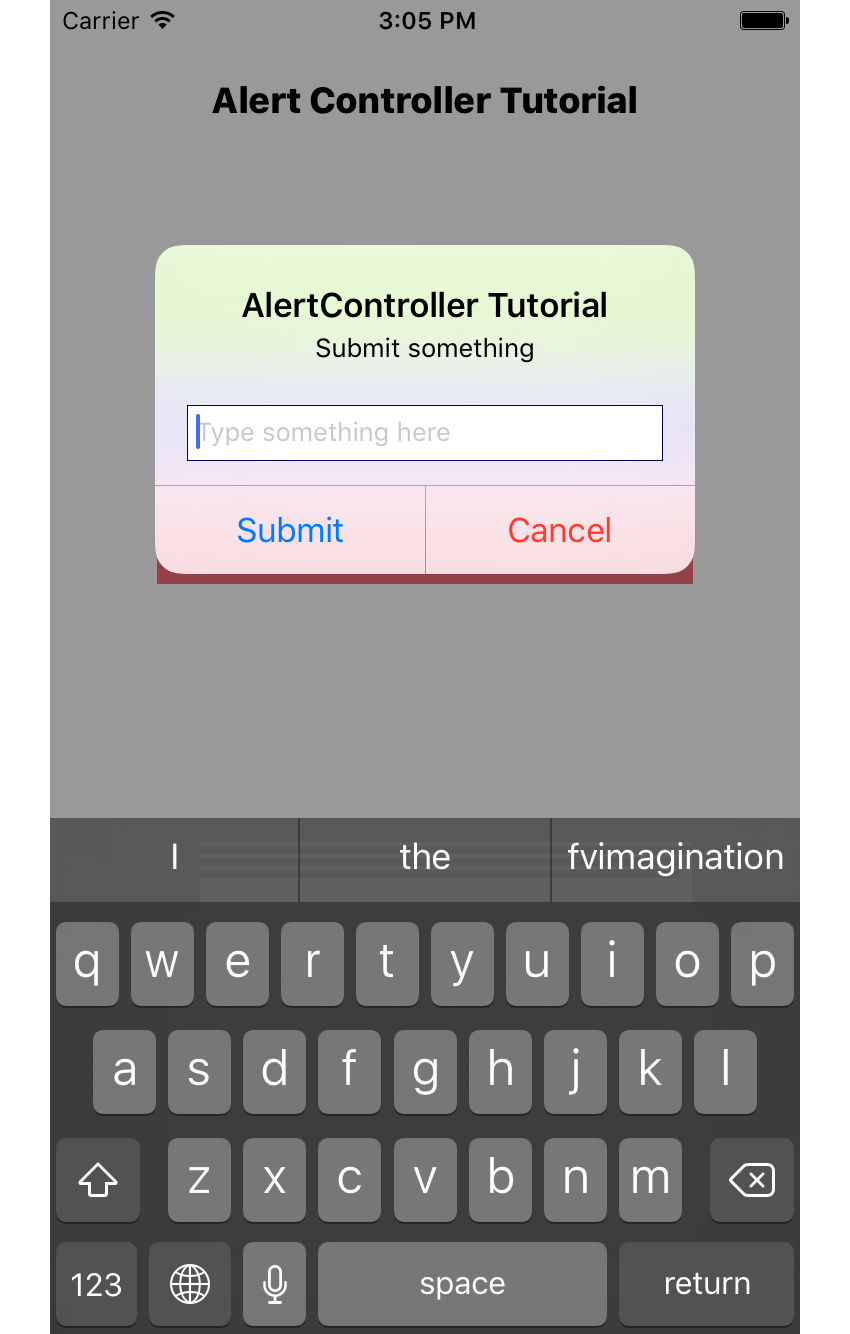 Alert controller with 1 text field