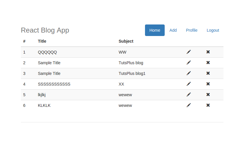 React Blog App - Profile Link in Menu