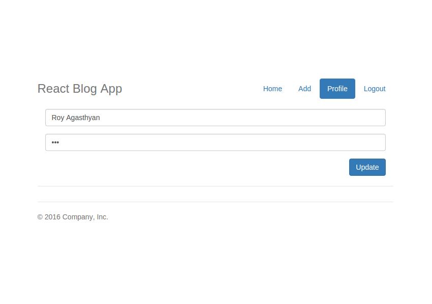 React Blog App - Edit Profile