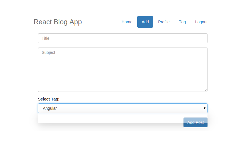 React Blog App - Category Loaded in Add Post Page