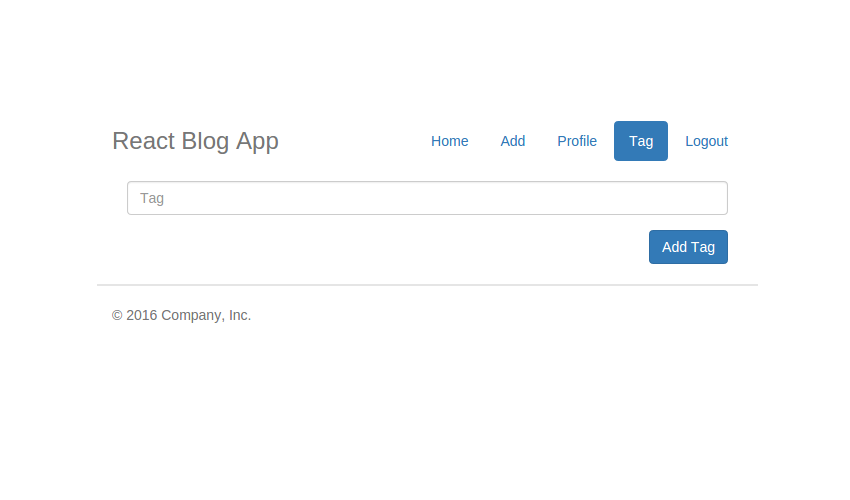 React Blog - Add Tag View