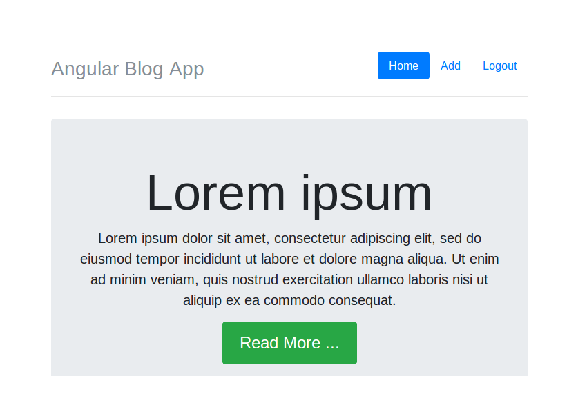 Angular Blog App Home Component