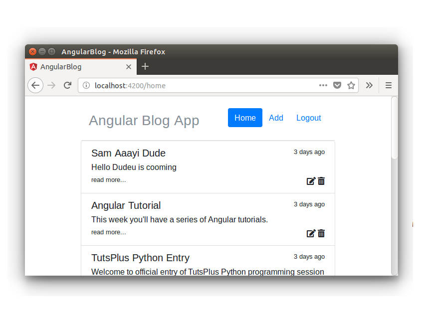 Angular Blog App - Edit And Delete Icon