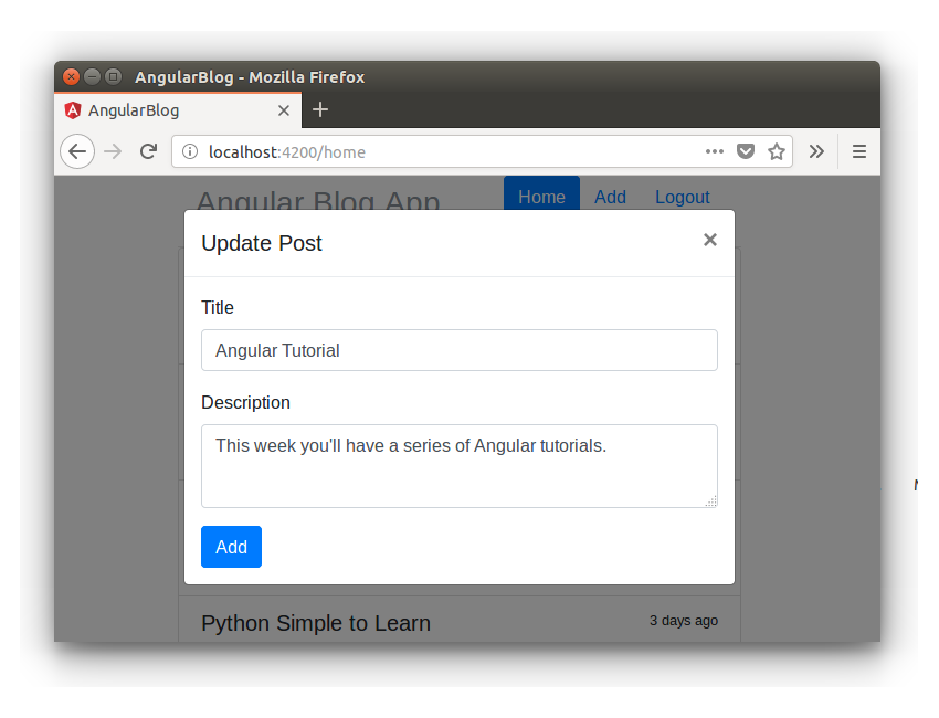 Angular Blog App - Update Post