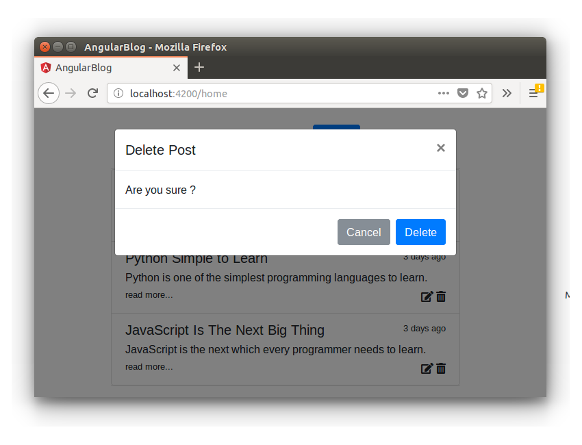 Creating a Blogging App Using Angular & MongoDB: Delete Post