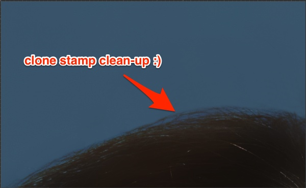 Clean up with Clone Stamp after the Surface Blur filter