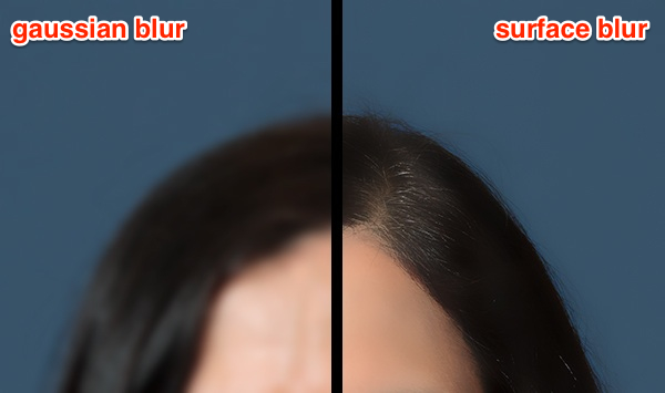 Gaussian Blur and Surface Blur compared side-by-side