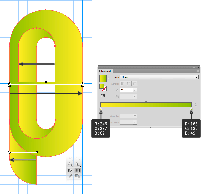 Applying Gradients in the shapes of logo to generate an 3D appearance