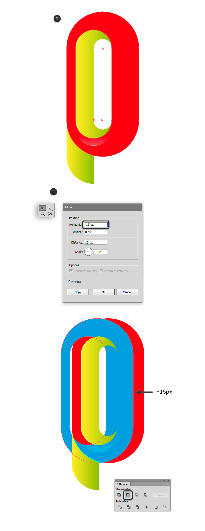 Duiplicating the outer ring of letter P to create a new highlight