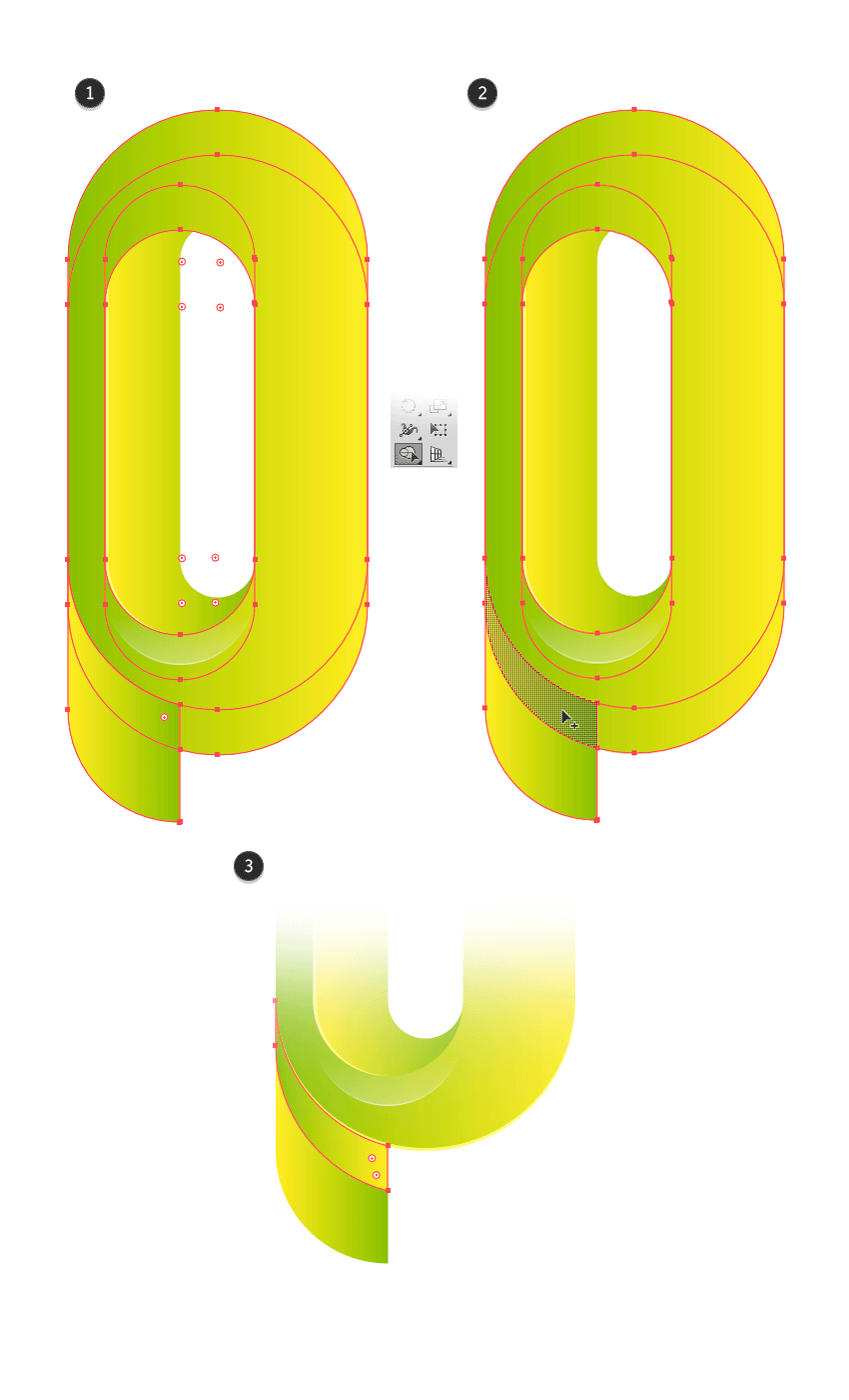 With Shape Builder Tool adding a shape to draw a shadow in the projection of letter P