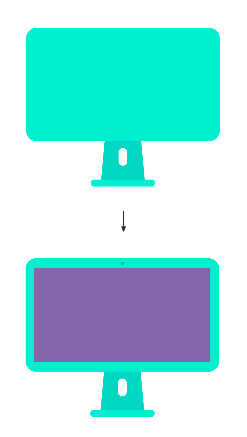 Twos rectangles for the monitor and the screen