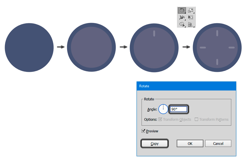 Creating the clock base with ellipses