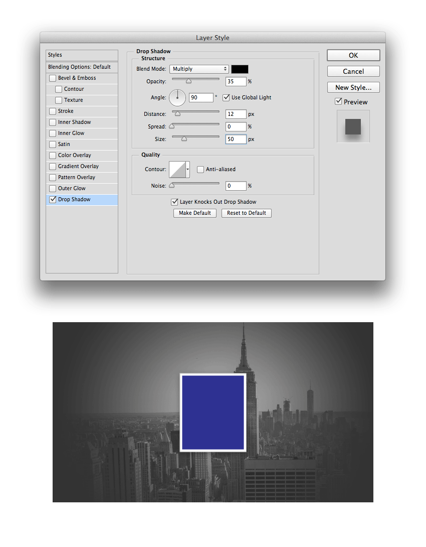 Setting the layer style of the rectangle