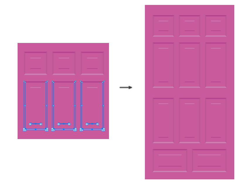 place the frames and distribute in the door