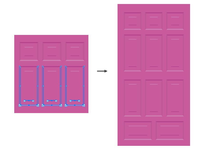 Tempatkan bingkai dan distribusikan di pintu