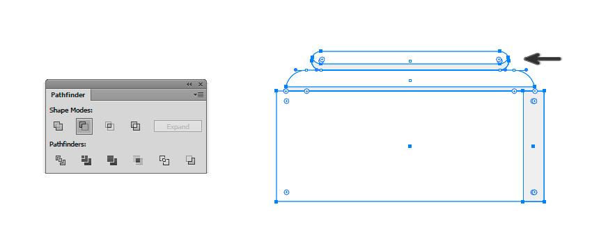 Tambahkan dua persegi panjang bulat di dasar