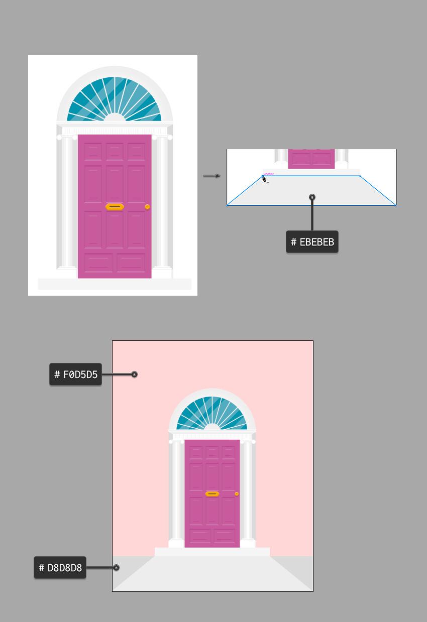 Menggambar lantai di pintu dan latar belakang