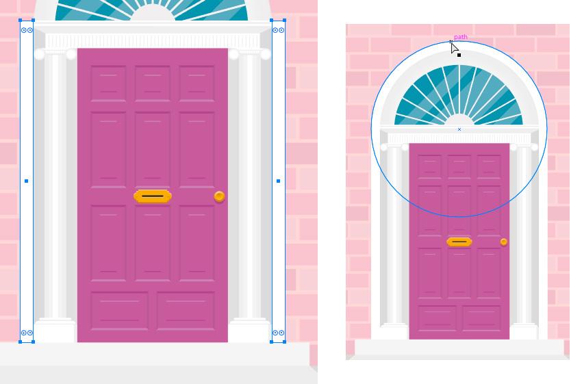 menggambar busur pintu
