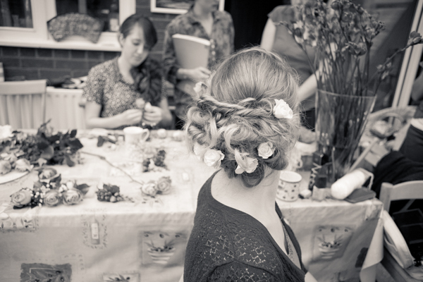 detail of the brides hair decorations