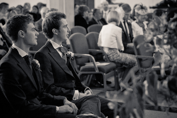 Portrait of the groomsmen during the wedding ceremony