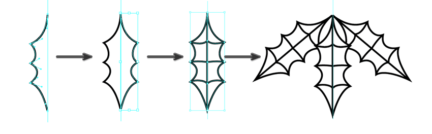 draw the holly leaf with the pen tool and reflect and rotate it into place