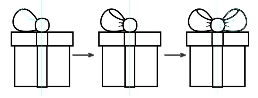 fill in the details on the bow using the pen tool