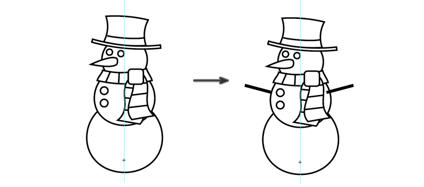 add eyes buttons and arms to the snowman