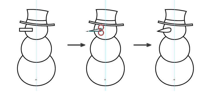 create a carrot nose for the snowman