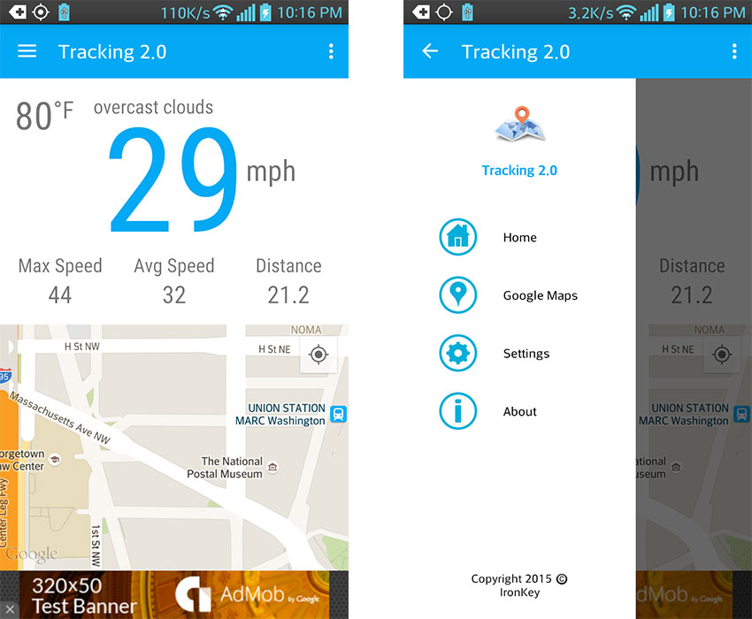 Map Tracking app template screenshots